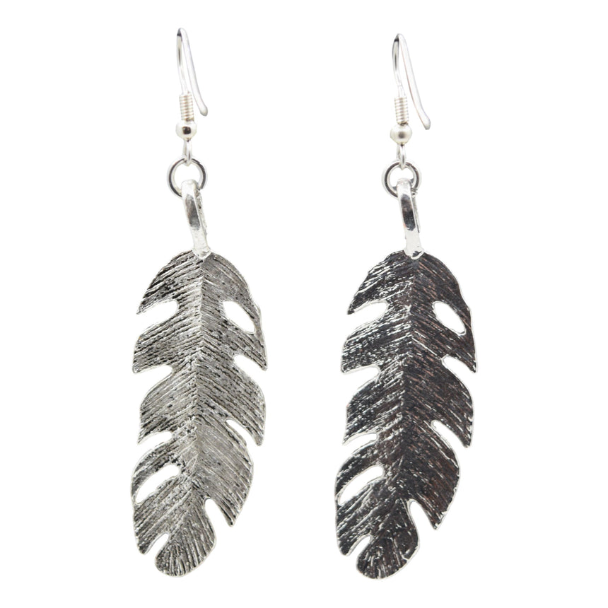 Vintage Silver Feather Earrings