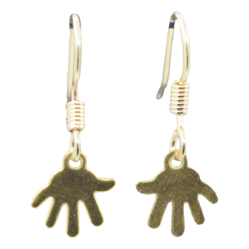 Teeny Tiny Cartoon Hand Brass Stamping Earrings