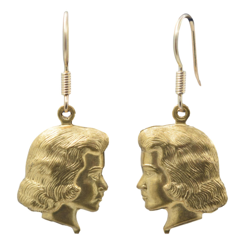 Vintage Jackie Profile 3D Face Brass Stamping Earrings