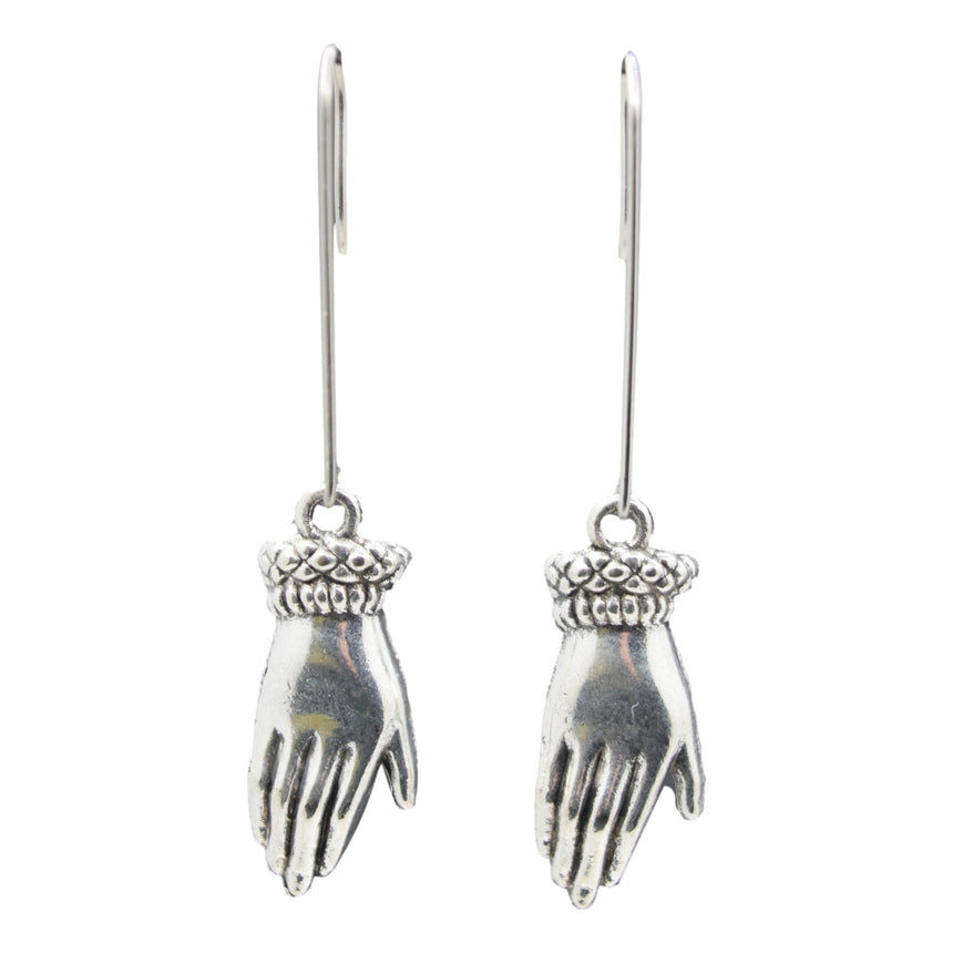 Victorian Silver Hand Long Dangle Earrings