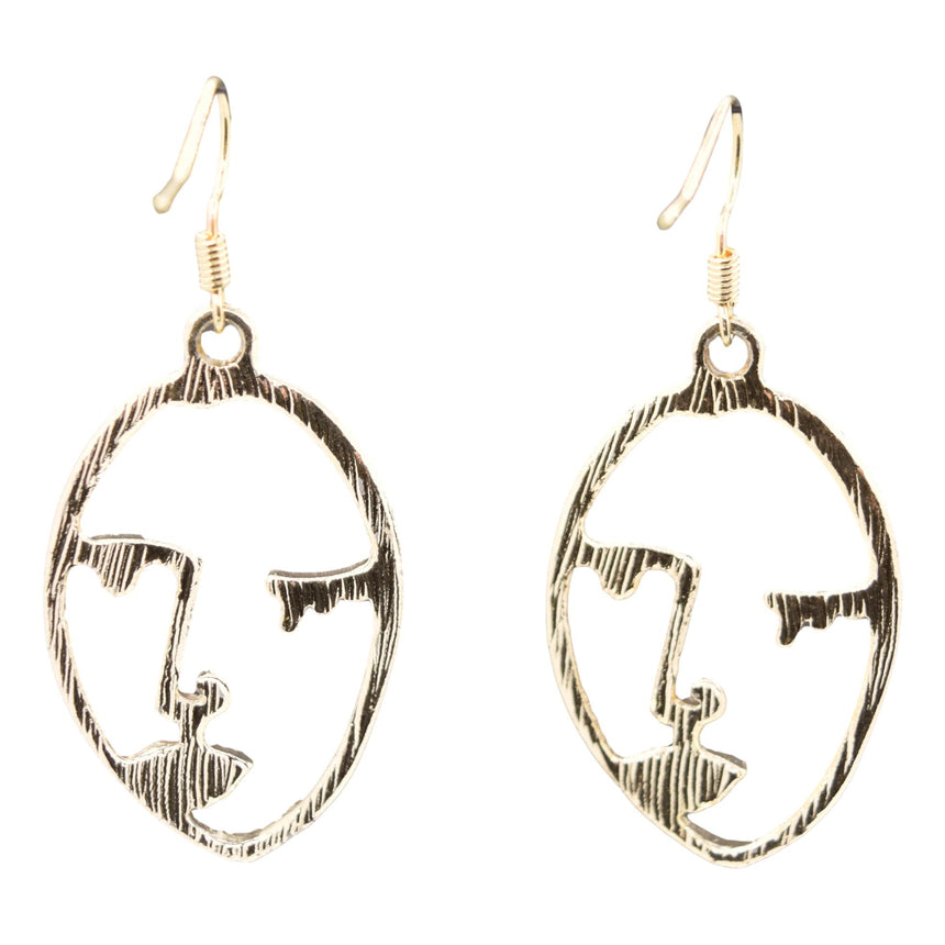 Picasso Wink Cubist Gold Earrings with Red Lips