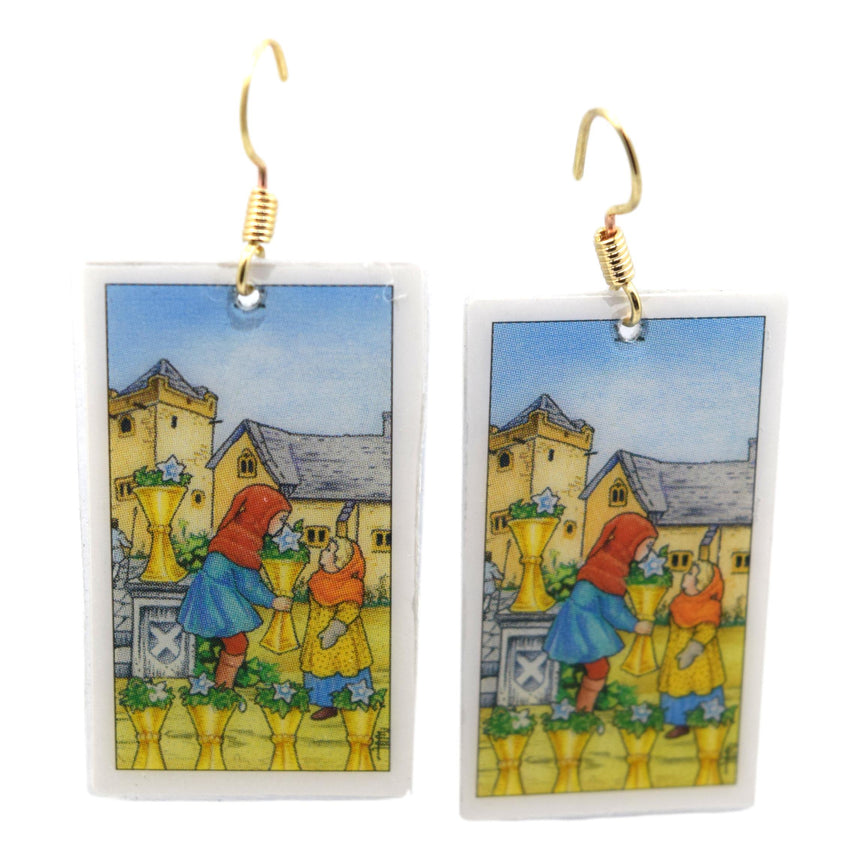 Six of Cups Tarot Card Earrings