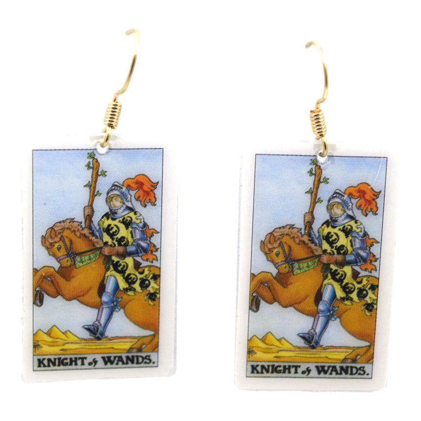 Knight of Wands Tarot Card Earrings
