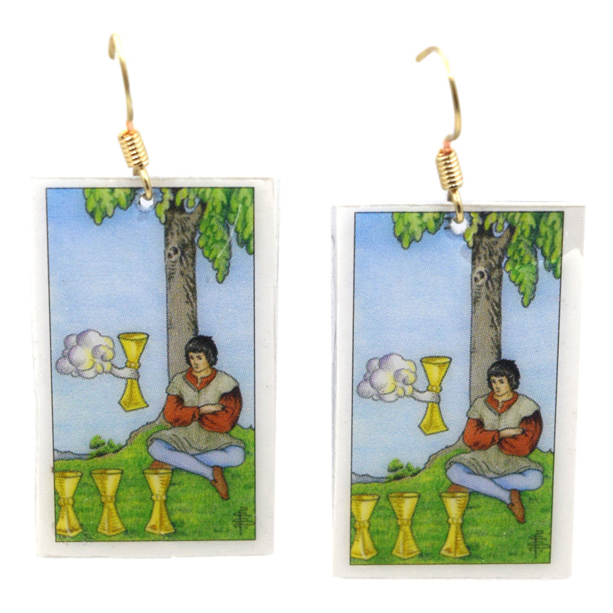 Four of Cups Tarot Card Earrings