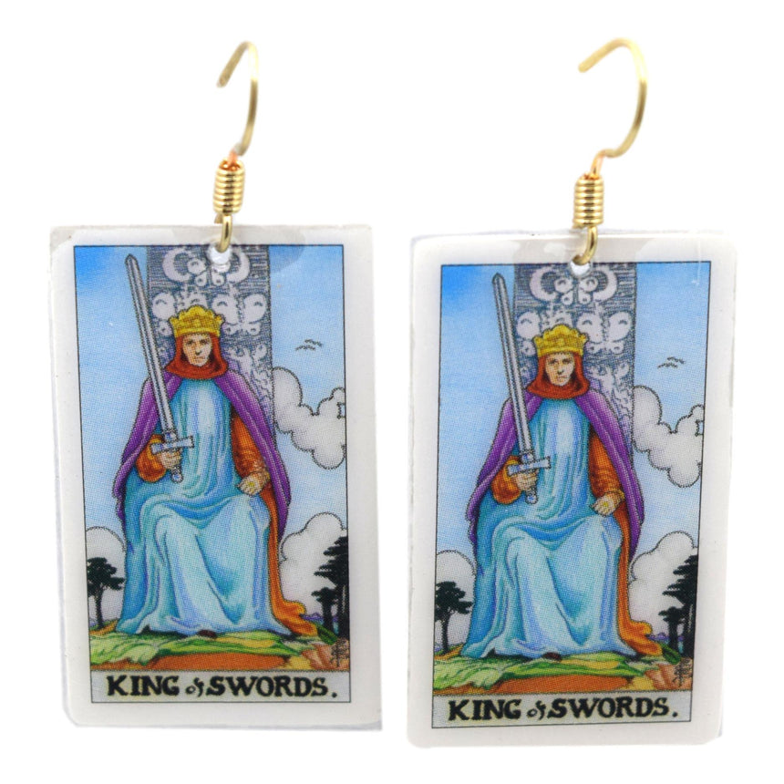 King of Swords Tarot Card Earrings