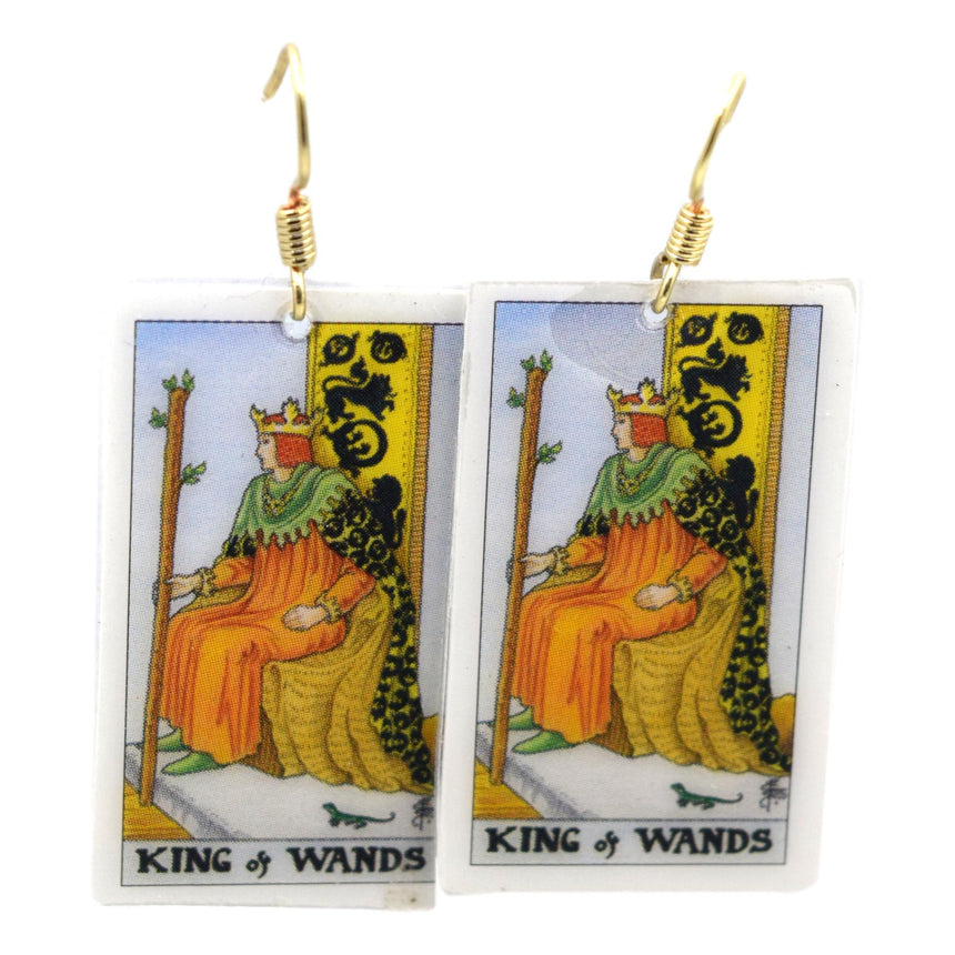 King of Wands Tarot Card Earrings