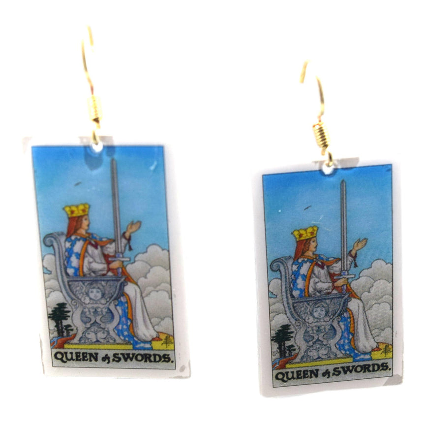 Queen of Swords Tarot Card Earrings