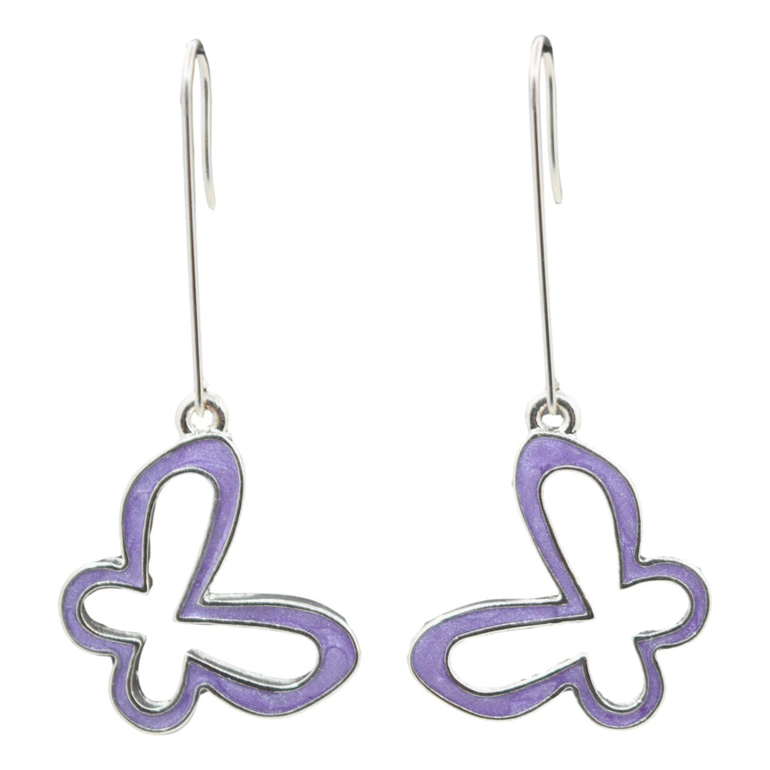 Vintage Y2K Purple Silver Butterfly Long Angled Earrings