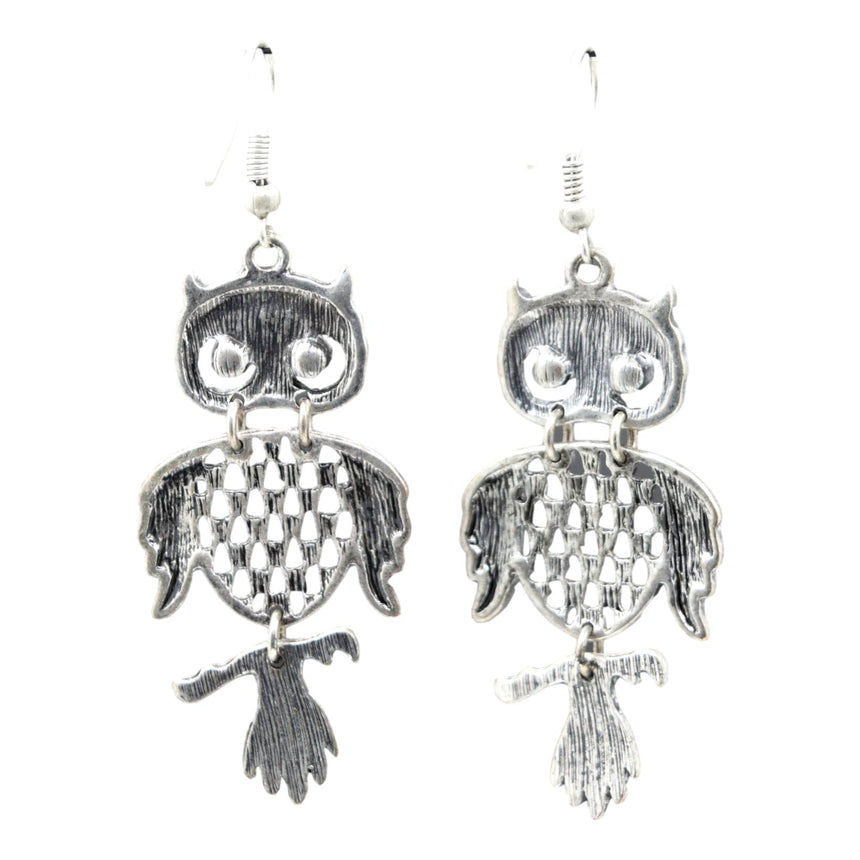 Retro 70's Silver Owl Earrings