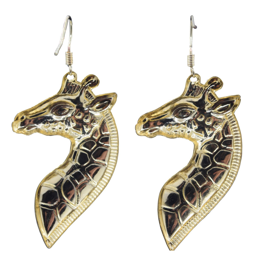 Vintage Giraffe Brass Stamping Earrings