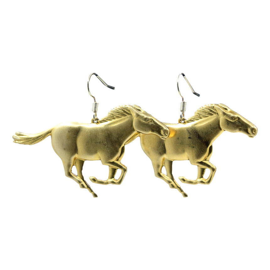 Vintage Wild Horses Brass Stamping Earrings