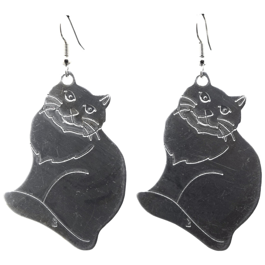 Vintage XL Cat Silver Stamping Earrings