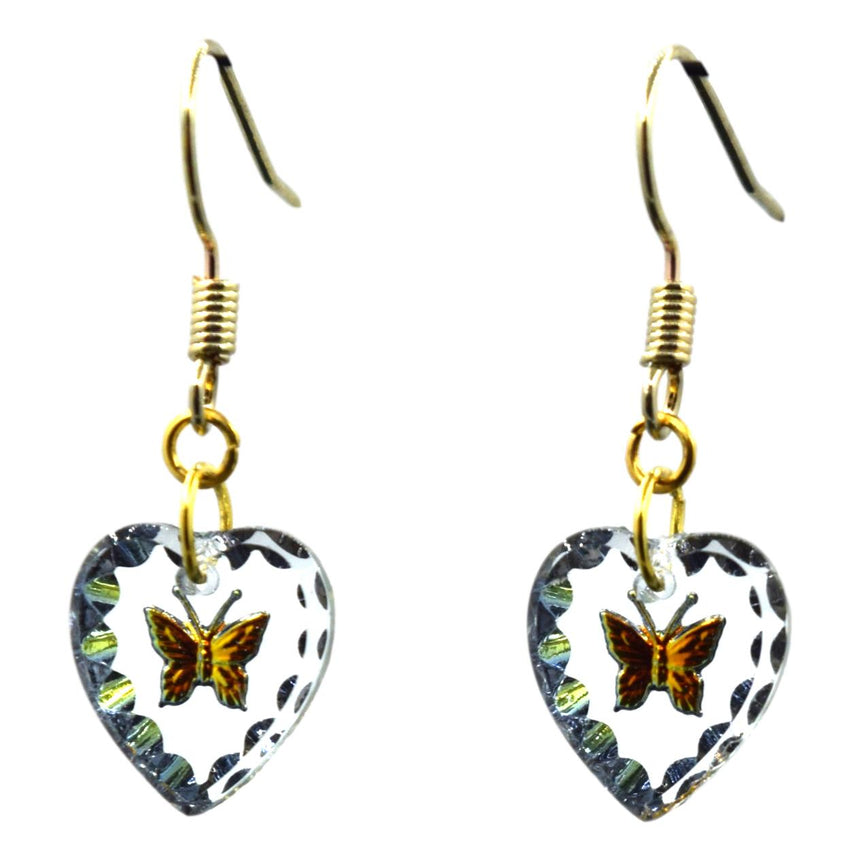 Vintage Holo Crystal Butterfly Earrings
