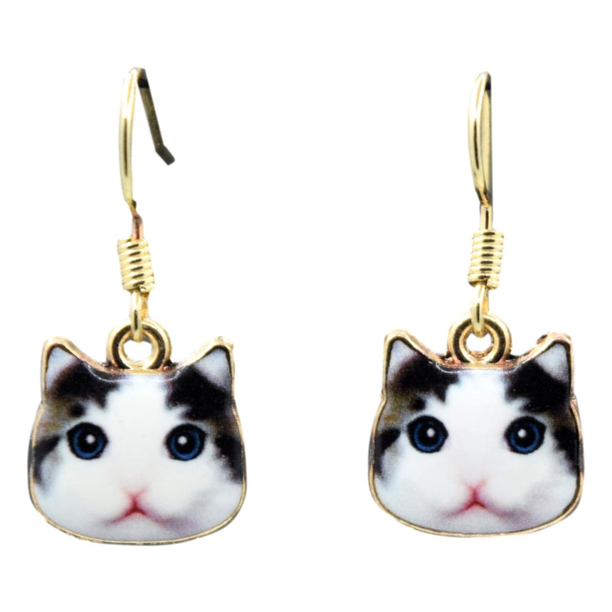 Enamel Black & White Derp Cat Earrings