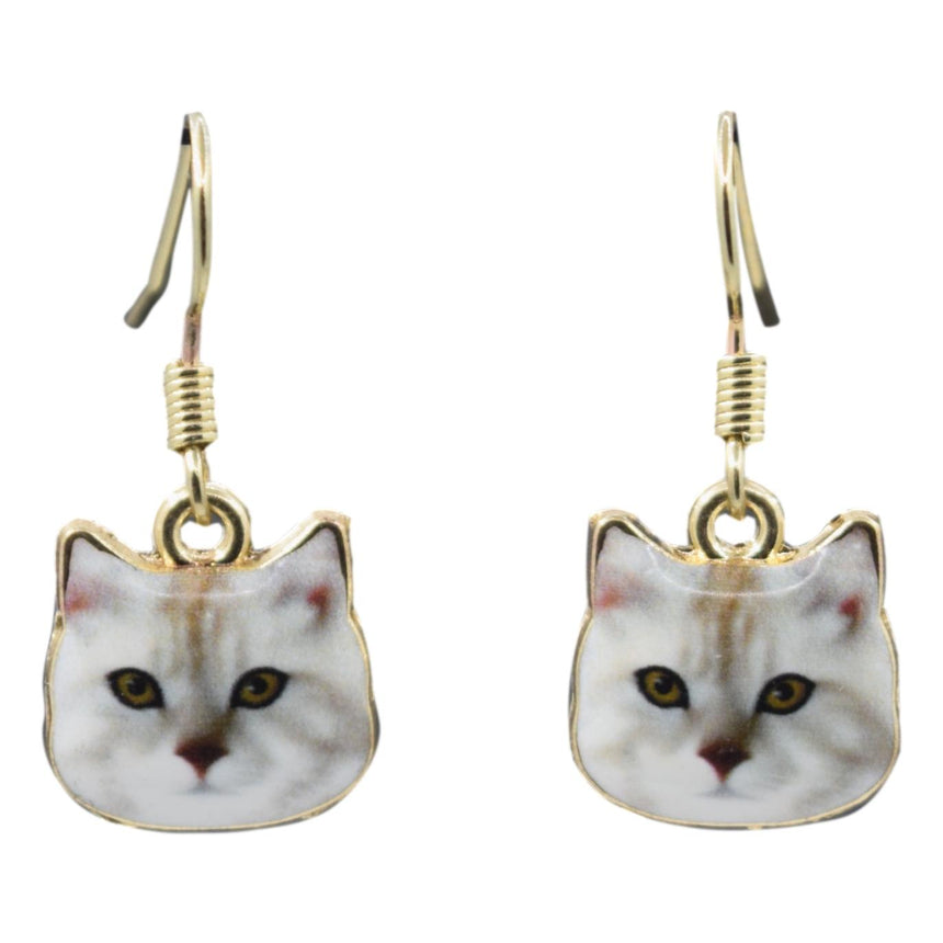 Enamel White Derp Cat Earrings