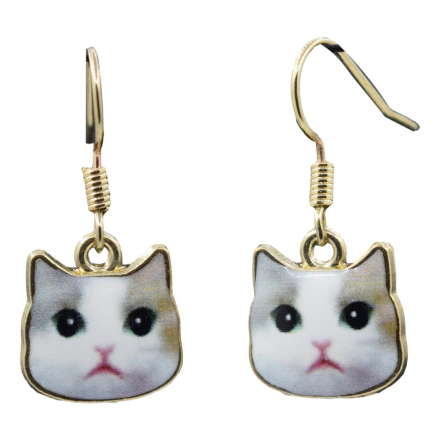 Enamel Cute White Derp Cat Earrings