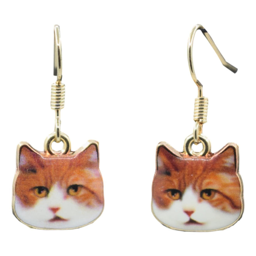 Enamel Derp Orange Cat Earrings