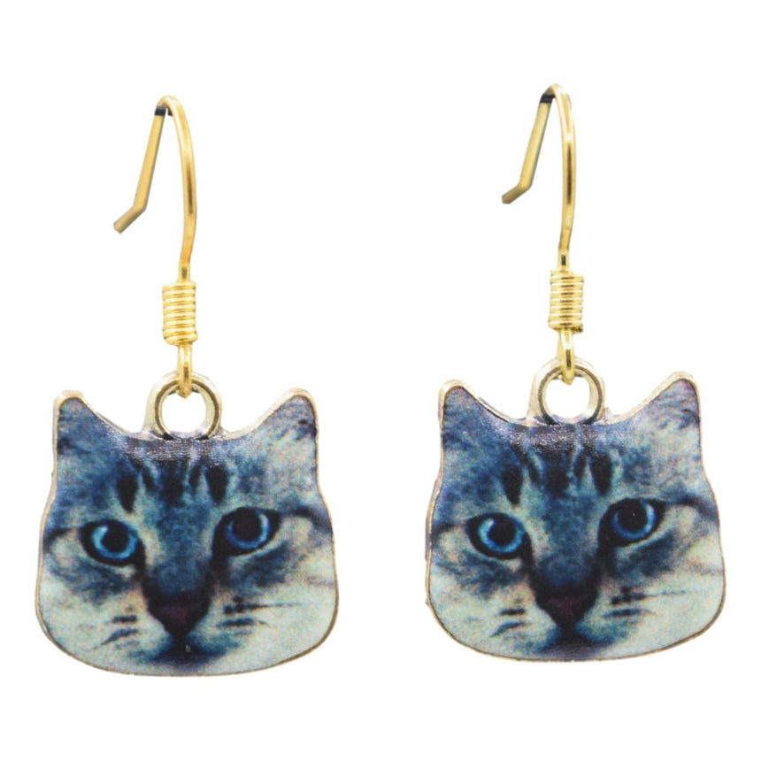 Large Enamel Derp Cat Earrings