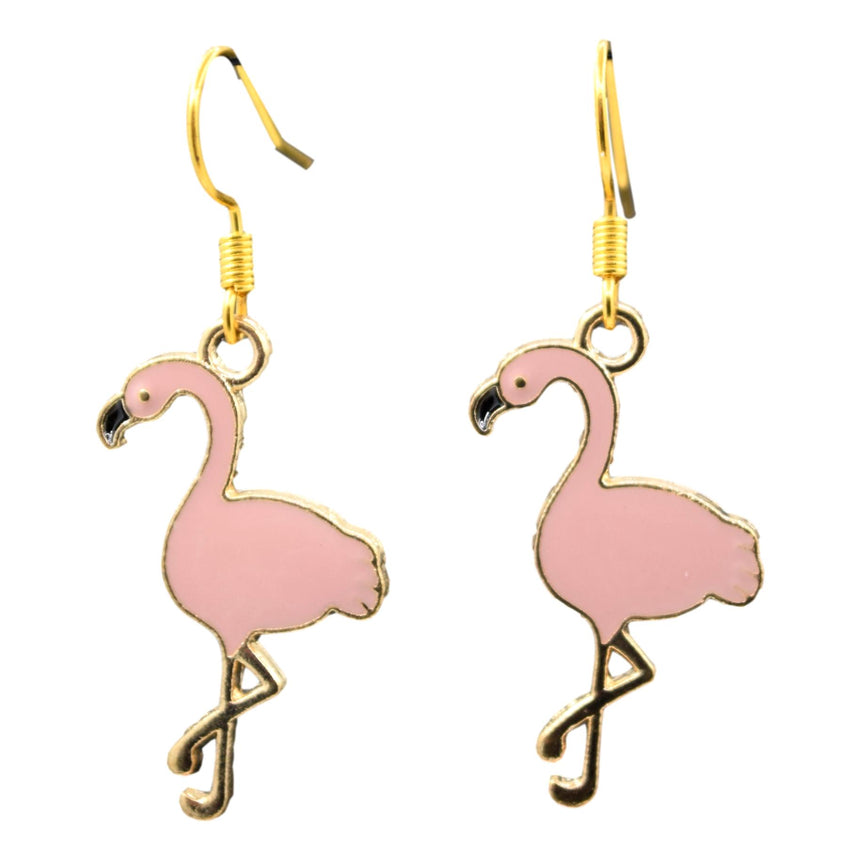 Pastel Pink Enamel Flamingo Earrings