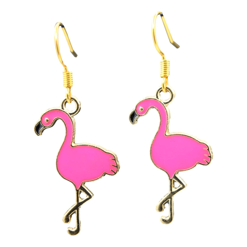 Hot Pink Enamel Flamingo Earrings