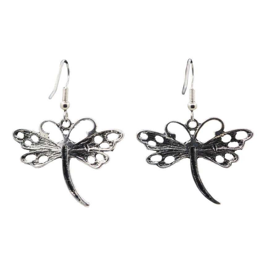 Vintage Y2K Silver Dragonfly Earrings