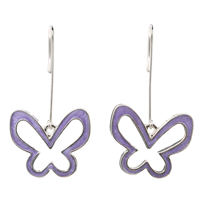 Vintage Y2K Purple Silver Butterfly Long Dangle Earrings