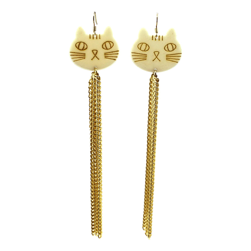 Vintage Super Long Tassel Gold Cat Earrings