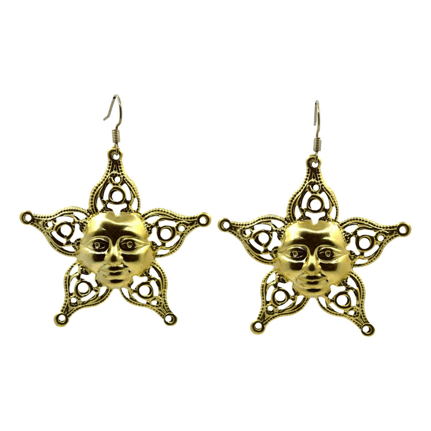 Vintage Star Face Brass Stamping Filigree Earrings