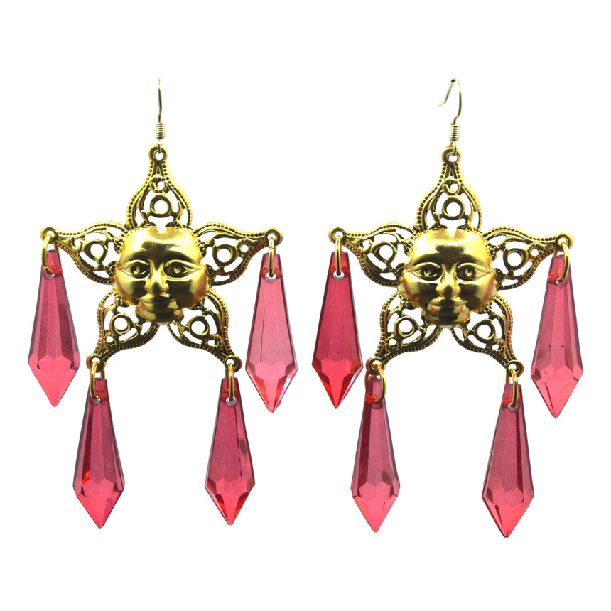 Vintage Red Chandelier Star Face Brass Stamping Filigree Earrings