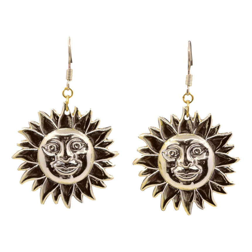 Vintage 3D Plastic Gold Sun Face Earrings