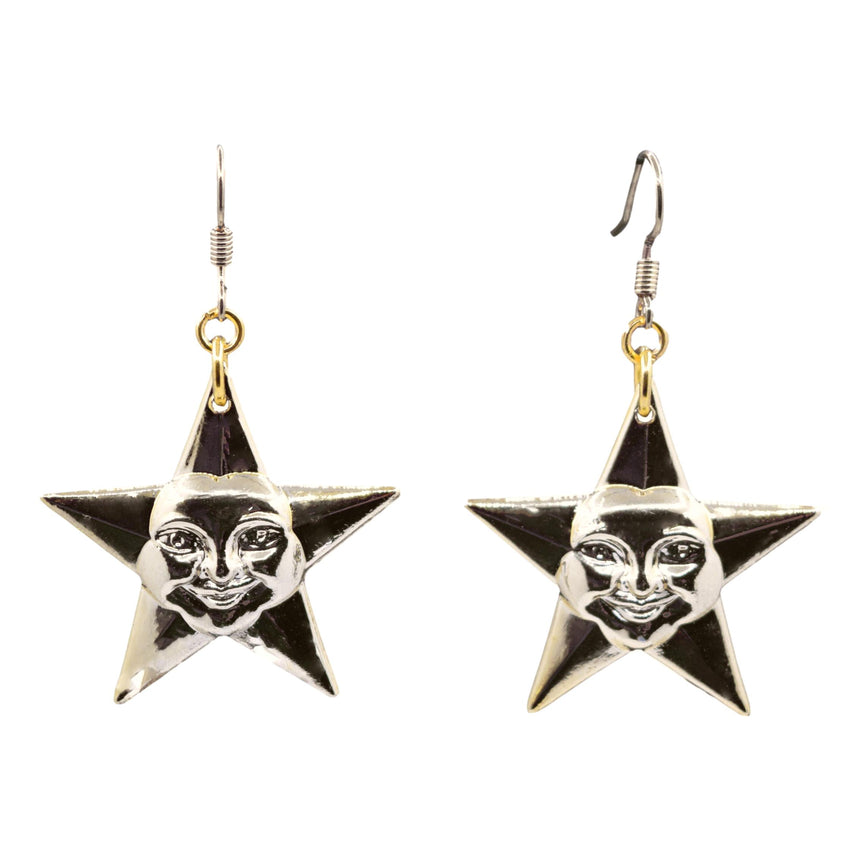Vintage 3D Plastic Gold Star Face Earrings
