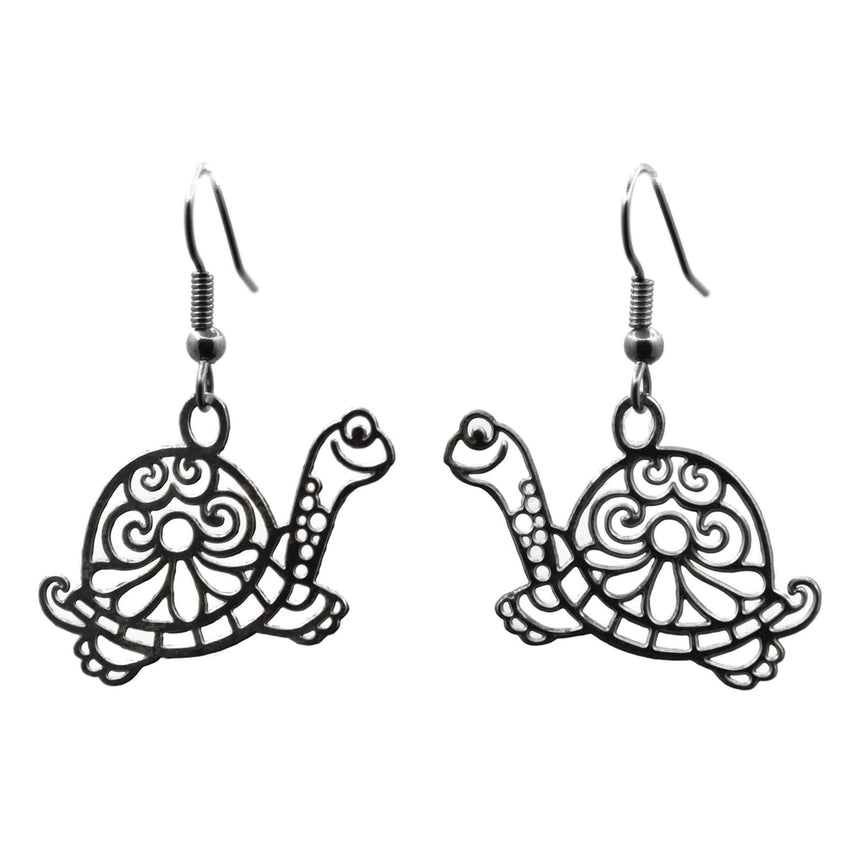 Vintage Silver Die-Cut Sixties Psychedelic Turtle Earrings