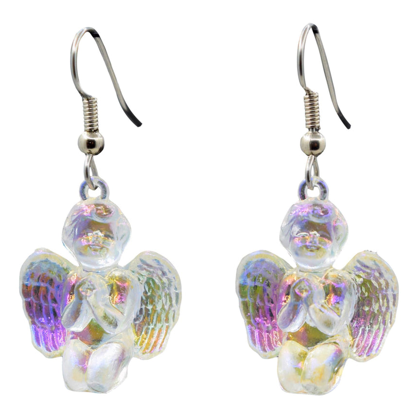 Vintage Holo Iridescent Kneeling Cupid Angel 3D Earrings