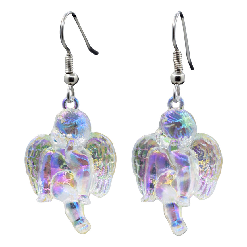 Vintage Holo Iridescent Thinking Cupid Angel 3D Earrings