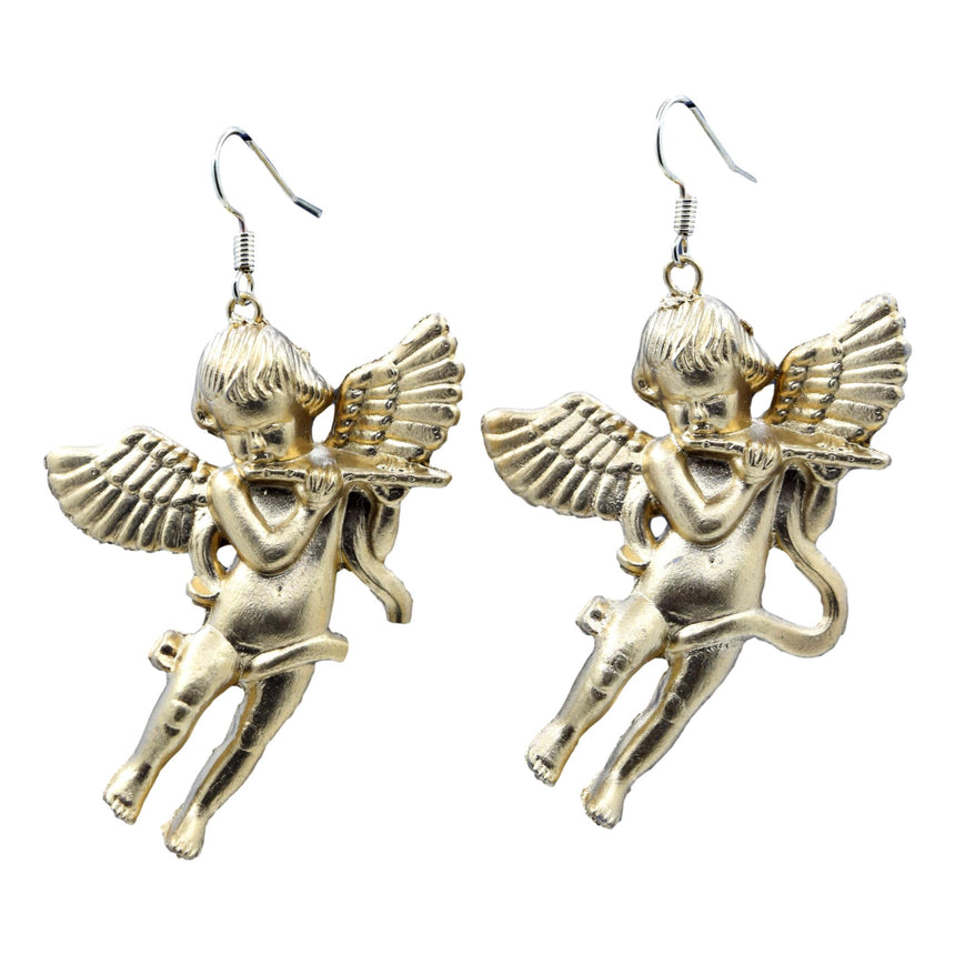 Vintage Cupid Angel with Flute 3D Gold Earrings