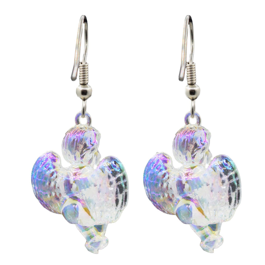Vintage Holo Iridescent Sitting Cupid Angel 3D Earrings