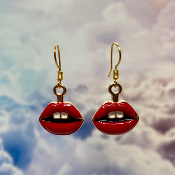 Red Lips Enamel Earrings