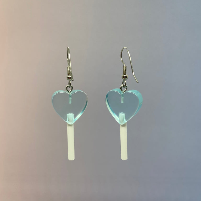 Baby Doll Blue Mini Heart Lollipop Earrings