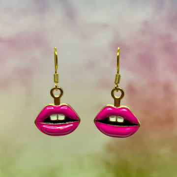 Hot Pink Lips Enamel Earrings