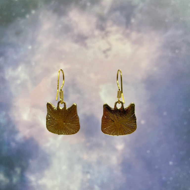 Large Enamel Derp Cat Earrings in Gray