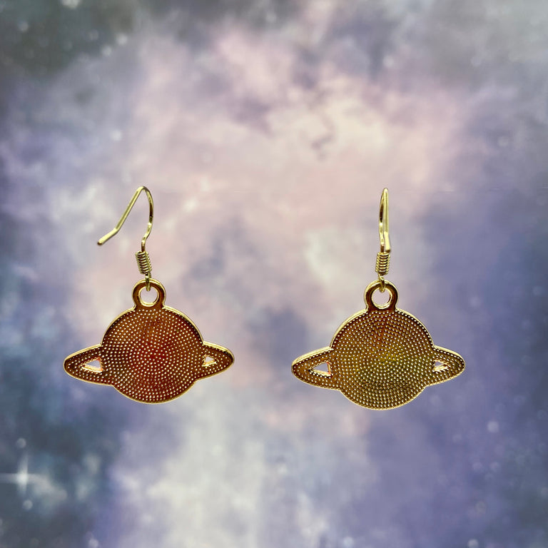 Hot Pink & Blue Planet Saturn Earrings