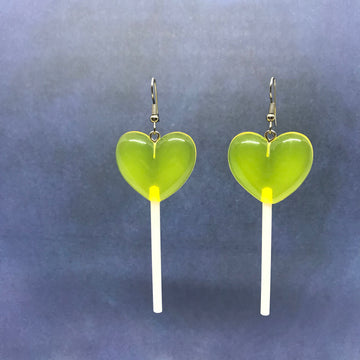 Sunshine Yellow 3D Heart Lollipops Earrings
