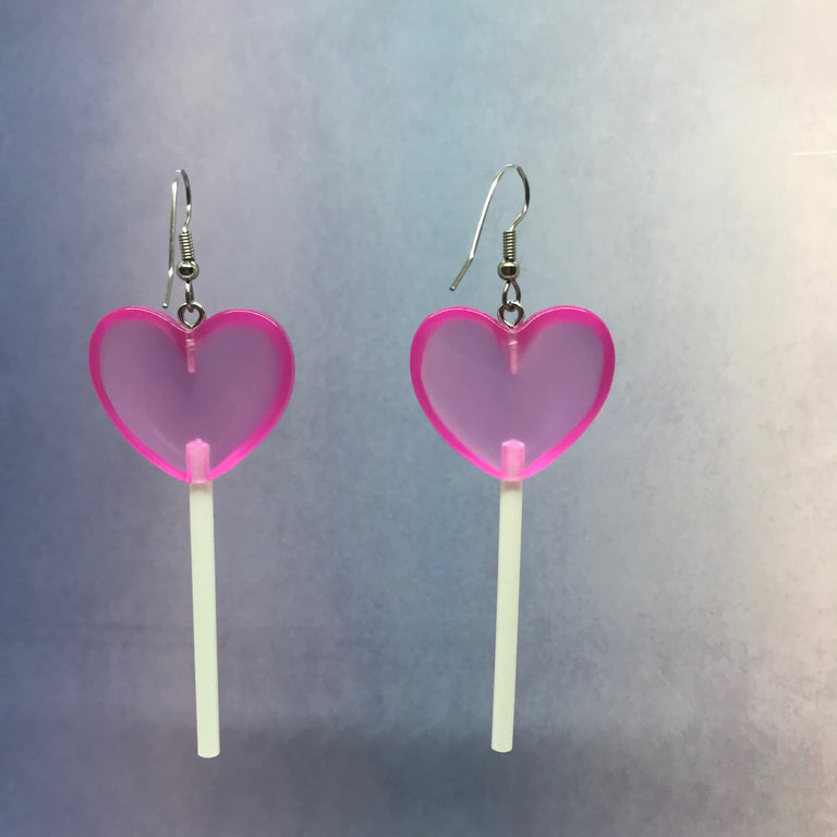 Fuschia  3D Heart Lollipops Earrings
