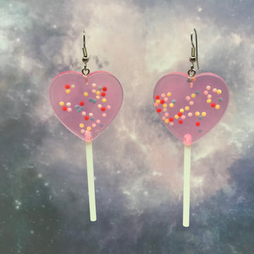 Pink Sprinkles XL Heart Lollipops Earrings