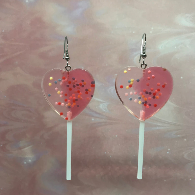 Red & Clear Sprinkles XL Heart Lollipops Earrings