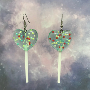 Light Blue Sprinkles 3D Heart Lollipops Earrings