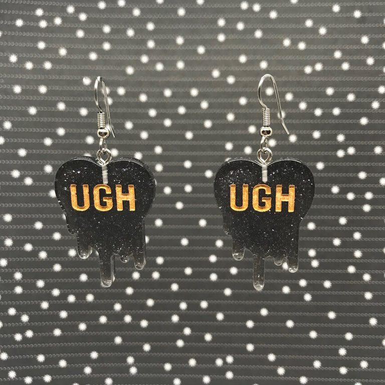 """UGH"" Charcoal Gray Glitter Black Earrings"