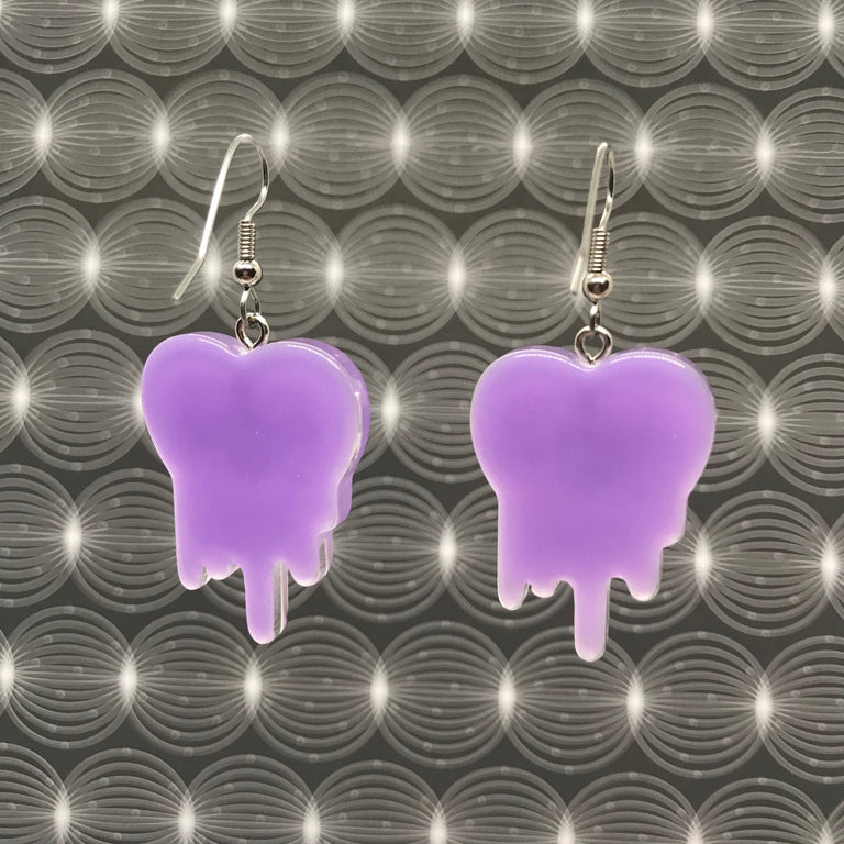 """UGH"" Glitter Light Purple Earrings"