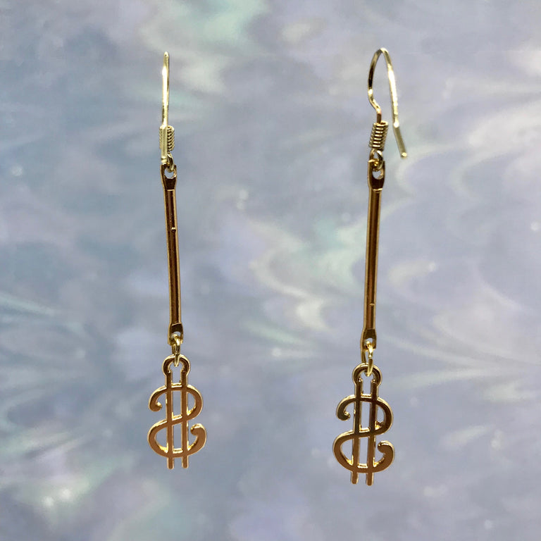 Gold Dollar Bill Vintage Earrings