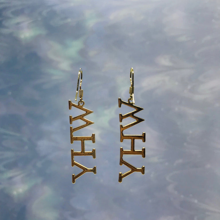 """Why"" Text Gold Earrings"